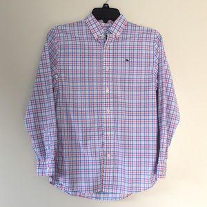 Vineyard Vines Boys Golf Shore Gingham plaid shirt
